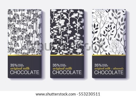 Vector Set Of Chocolate Bar Black, White and Gold Package Designs With Natural Leaves Patterns. Editable Packaging Template Collection.