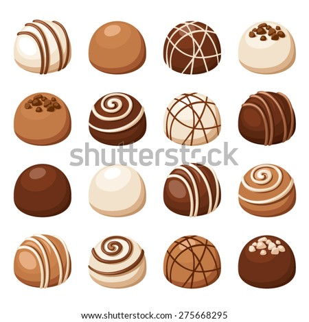 Vector set of chocolate candies isolated on a white background. - stock vector