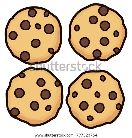 vector set chocolate chip whole cookies stock vector hd royalty rh shutterstock com cute chocolate chip cookie clipart chocolate chip cookie clipart png