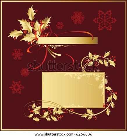Vector set of Christmas and New-Year's decorations (objects, background and banner) - stock vector