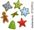 Vector set of Christmas cookies - stock vector