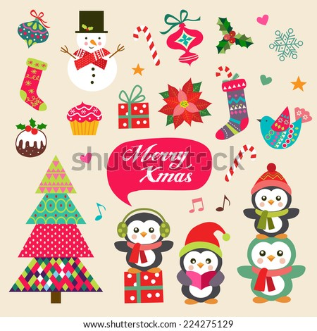 Vector set of Christmas decoration with symbols, icons elements - stock vector