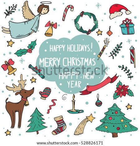vector set of Christmas doodle illustrations hand drawing. Happy New Year and Christmas. Christmas tree, reindeer, mittens, toys, decorations