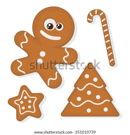 Vector set of christmas homemade gingerbread cookies - stock vector