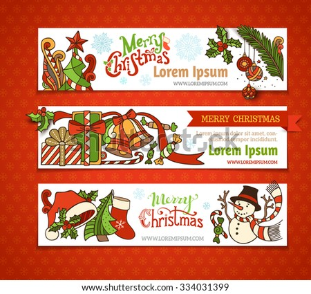 Vector set of Christmas horizontal banners. Cartoon Christmas tree and baubles, Santa sock and hat, holly berries, candy canes, snowman, sweets, bells and ribbons, stars and hand-written text.  - stock vector
