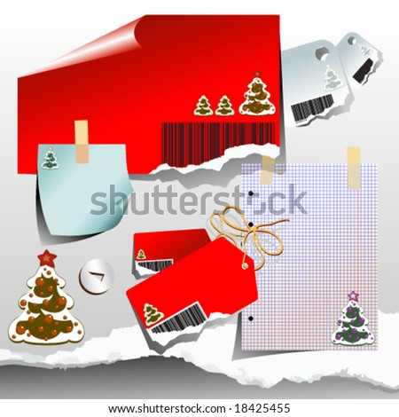 Vector set of christmas labels - stock vector