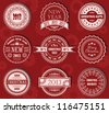 Vector set of Christmas labels in red - stock vector