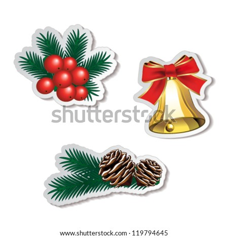 Vector set of Christmas stickers - stock vector