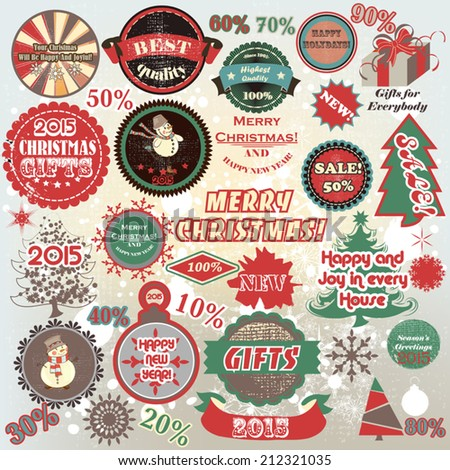 Vector set of Christmas stickers in retro style