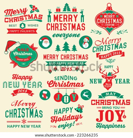 Vector set of Christmas symbols, labels, icons, elements and decoration - stock vector