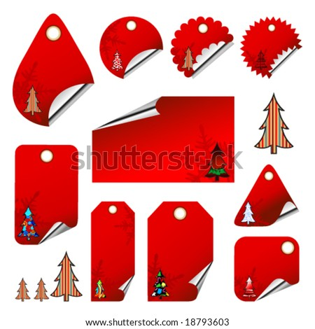 Vector set of christmas tags - stock vector