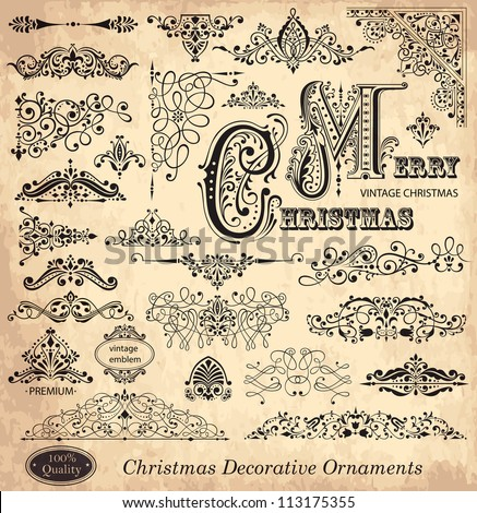 Vector set of Christmas vintage ornaments, design elements and  frames. - stock vector
