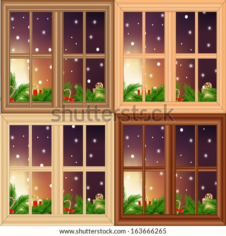 Vector set of Christmas windows  - stock vector