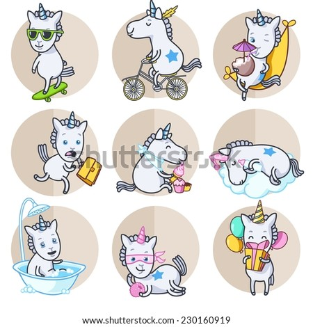 Vector set of circle stickers  with unicorn in various poses - stock vector