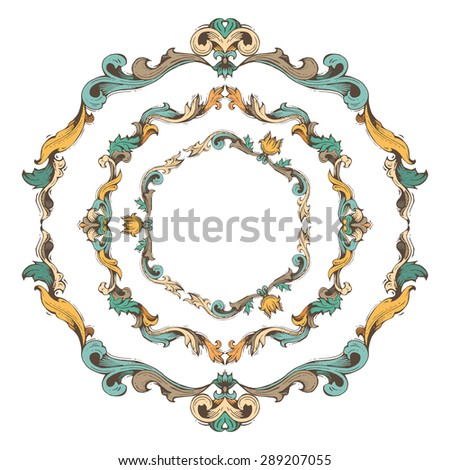 Vector set of circle vintage frames. Bright hand-drawn frames and page decorations with retro ornament. There is place for your text in the center.
