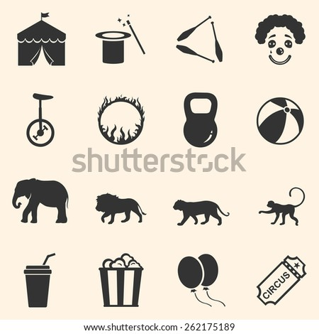 Vector Set of Circus Icons - stock vector