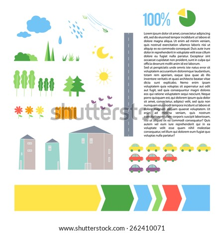 Vector set of city infographic elements. Flat icons design. Nature and weather icons collection.