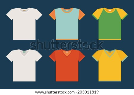 Vector set of classic t-shirts and v-neck t-shirts