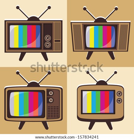 Vector set of classic television - stock vector