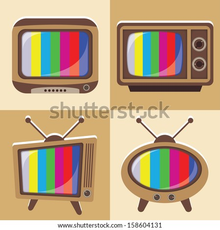 Vector set of classic television 1 - stock vector