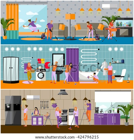 Vector set of cleaning service concept banners. People cleaning house, kitchen, bathroom and living room. Apartment interior. Housekeeping company team at work. - stock vector