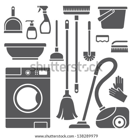 Vector set of cleaning symbols - stock vector