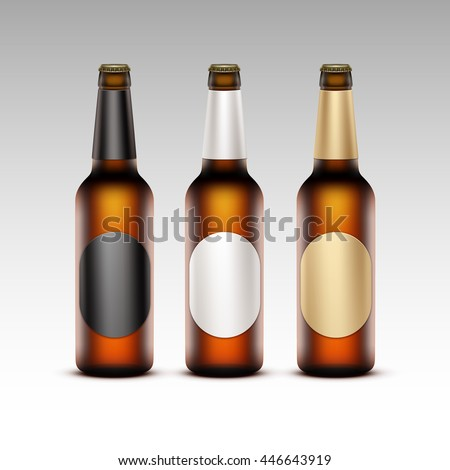Vector Set of Closed Blank Glass Transparent Brown Bottles with Round White Black Golden labels Light Beer for Branding Close up Isolated on White Background
