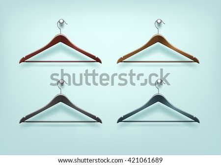 Vector Set of Clothes Coat Wooden Plastic Black Brown Hangers Close Up Isolated on Background - stock vector
