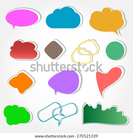 vector set of cloud icon computing concept design, abstract speech bubbles set isolated on white