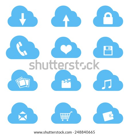 Vector Set of Cloud Icons with Different Conceptions - stock vector