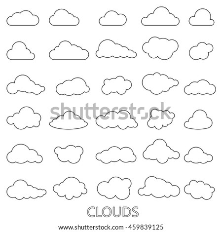 Vector set of clouds shapes, black lineart cloud on white background icons set - stock vector