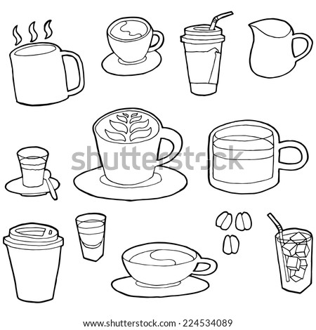 vector set of coffee - stock vector