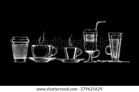 Vector set of coffee cups on black background.