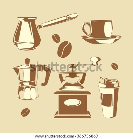 Vector set of coffee making equipment. Cezve, old fashioned manual burr mill coffee grinder, moka pot, turkish manual coffee and pepper grinders, cup coffee - stock vector