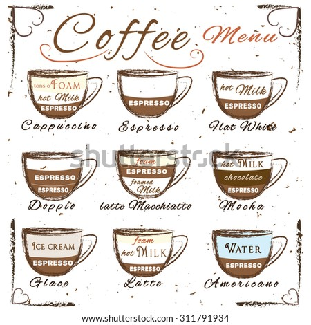 Vector Set Of Coffee Menu With A Cups Drinks In Vintage Style Ingredients
