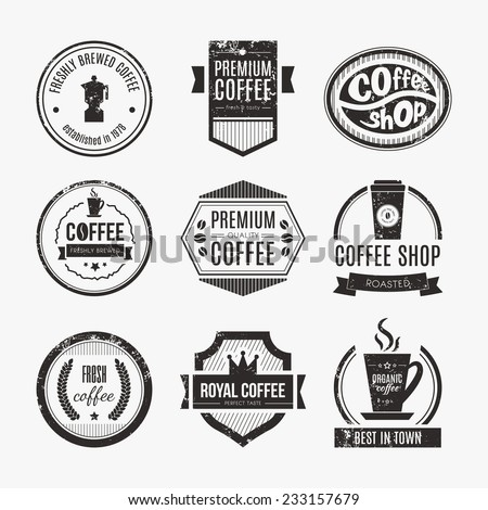 Vector set of coffee shop logos, restaurant or bar logotype design elements with mugs and beans. Ribbons, circle shapes, labels, insignias with coffee related elements. - stock vector