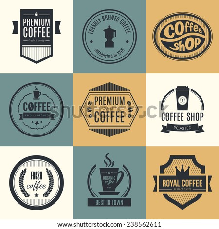 Vector set of coffee shop logos, restaurant or bar logotype design elements with mugs and beans. Ribbons, circle shapes, lables, insignias with coffee related elements.  - stock vector