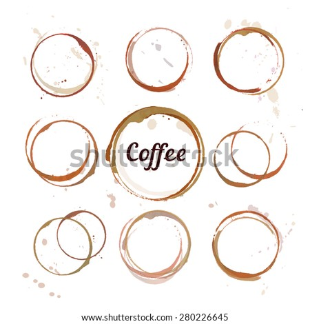Vector set of coffee stain circles, splashes and spot isolated on white background. Hand drawing cup marks. - stock vector
