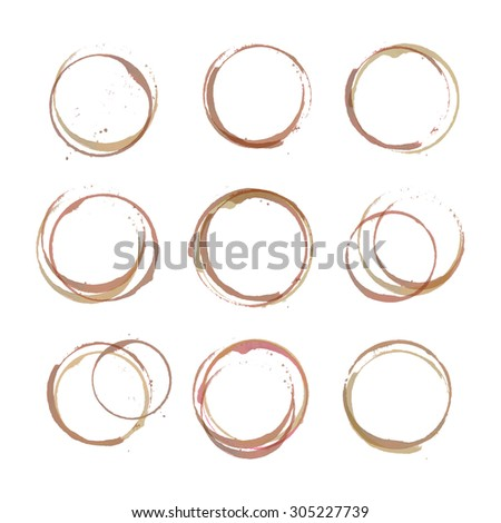Vector set of coffee stain circles, splashes and spot isolated on white background. Watercolor hand drawing cup imprint - stock vector