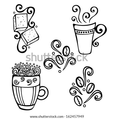 Vector Set of Coffee with Steam - stock vector