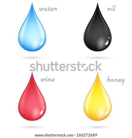 Vector set of color drops  - stock vector