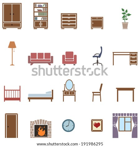 vector set of 20 color furniture  icons - stock vector