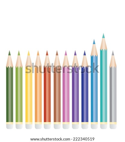 Vector set of color pencils
