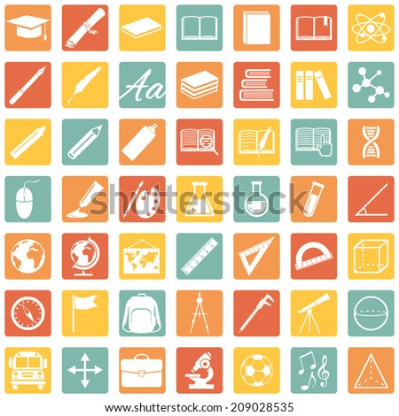 Vector Set of  Color Square 49 Education Icons. School and University. - stock vector