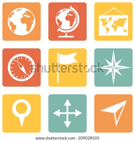 Vector Set of   Color Square Geography Icons. - stock vector