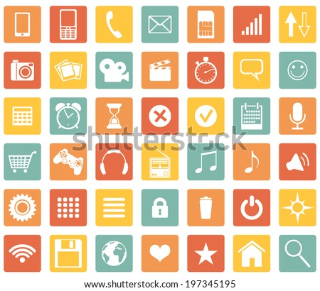 Vector Set of Color Square Mobile Icons - stock vector