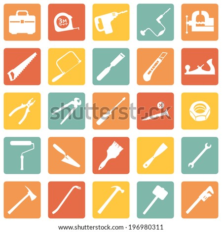 Vector Set of Color Square Work Tools Icons - stock vector