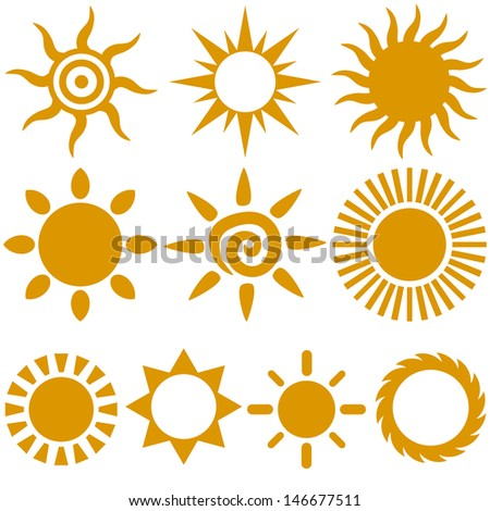 Vector set of color stylish sun icons - stock vector