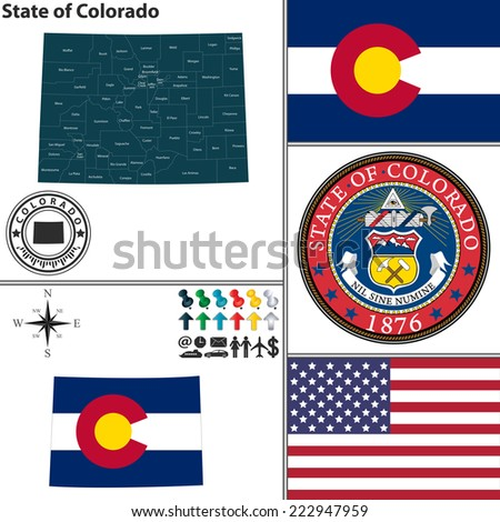 Vector set of Colorado state with seal, flag and icons on white background