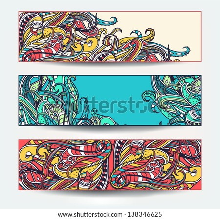 vector set of colored abstract banners - stock vector